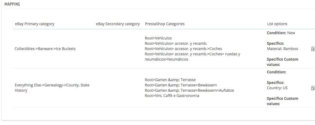 Already created list of ebay PrestaShop mapping