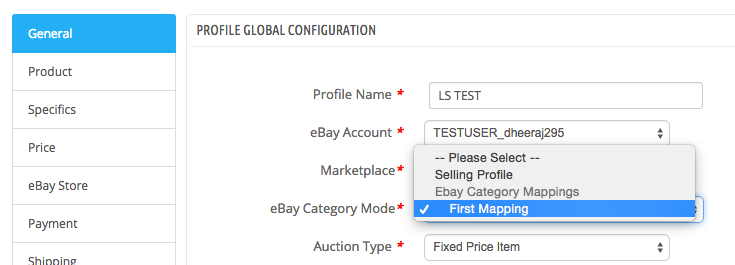Select mapping in Selling Profile